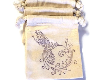 6 Muslin Bags, Purple Hummingbird and Flower,Gift Bags, Packaging, 4x4 Inches, Hand Stamped, Party Favor Bags