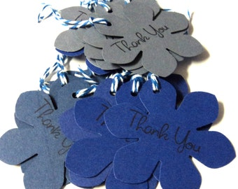 15 Tags, Gift Tags, Thank You, Merchandise, Hang, Shades of Blue, Funky Flowers, Party Favor Tags