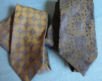 Two vintage neckties in darkish colors with beautiful jaquard designs Di Edwardo and Monsier Cravatieur