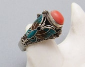 Sterling Coral Ring Enamel Butterfly Chinese Import Jewelry R7280