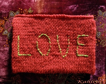 Fuchsia Vegan Friendly,Hand knitted Fun,Love Pouch,Clutch, Purse