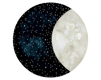 Moon and Stars 15 - Original 8x10 Contemporary Watercolor Painting - Astronomy Art - by Natasha Newton