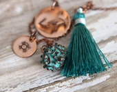 Bohemian Charm Necklace, Teal Blue Green, Copper Stamped, Tribal Charms, Hand Stamped, Verdigris Green Copper, Green Silk Tassel
