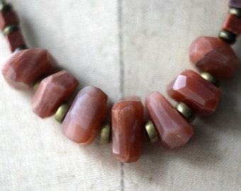 October Sale Peach Moonstone Necklace, Faceted Gemstone Chunky Beads, Goldstone, Gold Brass. Boho Bohemian