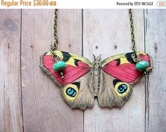 Moth Pendant Pastel Butterfly Giant Moth Necklace Turquoise, Pink Yellow Gift  Box