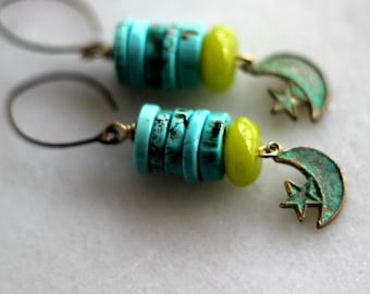 Turquoise Earrings, Chartreuse Green, Celestial Crescent Moon, Stars, Verdigris Patina, Boho, Bohemian