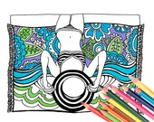 Sunbather Coloring Page - Digital Download Beach Art - A Colorful World Suf & Sun by Alexine and Lori Goldwag - Beach Adult Coloring Book