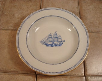 Spode Trade Winds blue wide rimmed soup bowl- excellent condition, no defects, beautiful