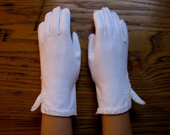 Vintage White Gloves, Bridal Gloves, Vintage Gloves, White Dress Gloves, Crescendo, Cotton, Dress Gloves, Wedding Gloves, Vintage Fashion