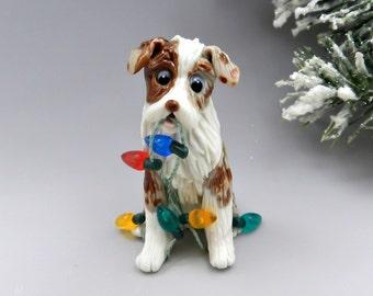 Australian Shepherd Red Merle Christmas Ornament Figurine Porcelain