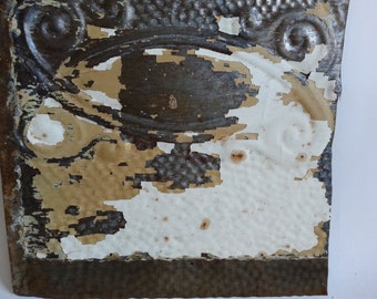 """Antique Salvaged Reclaimed Tin Ceiling Tile 12.5"""" x 16.5""""  White & Brown 2582-15"""