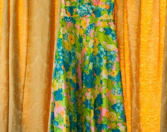 Vintage Gown - Bridesmaid Prom 60s Mod Floral Island Tropical