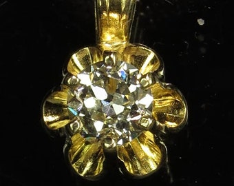 Natural Diamond .32 carat Handset in solid 14K Gold on solid Sterling Chain  -  NOW  on  SALE  - Fast Free Shipping