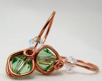 Copper Peridot Swarovski Crystal One Piece Wire Wrapped Dangle Earrings Minimalist Earrings