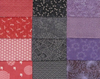 Japanese cotton prints - 18 red, purple and black fat eighths