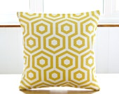 16 inch mustard yellow white abstract cushion cover, decorative pillow cover 40 cm