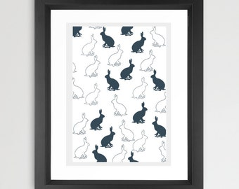 Hares Pattern Art - Nursery, hares, hare silhouette , design, British Art, Animal art