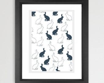 Hares Pattern Art - Nursery, hares, hare silhouette , design, British Art, Animal art