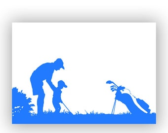 Father and kids playing golf, Fine art print, silhouette, wall decor, Fathers Day, Gift For Father, son, daughter, father with two kids