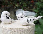 White Owl Wedding Cake Topper: Bride & Groom Love Bird Cake Topper