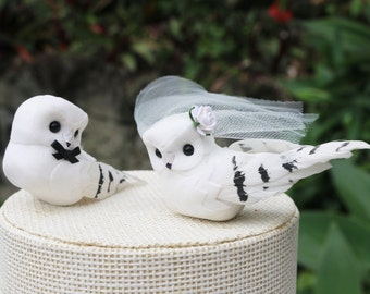 White Owl Wedding Cake Topper: Bride & Groom Love Bird Cake Topper
