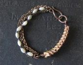 SALE - Unisex Bracelet - Snake Vertebrae with Mixed Chain and Upcycled Rosary Beads - Memento Mori