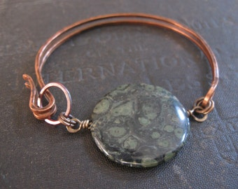 Halfsies No. 18 - Copper Bracelet with Kambaba Jasper