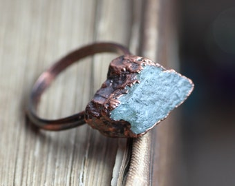 Green Apatite Ring Copper Gemstone Ring Electroformed Blue Green Stone Ring Rustic Jewelry Size 5 3/4