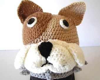 Bull Dog Puppy Hat Crochet White Brown Tan with Gray Collar School Team Colors Mascot by AllKindsofArt