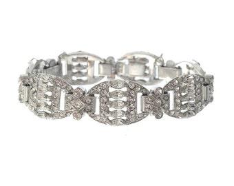Antique Art Deco Jewelry, Vintage Art Deco Bracelet, Oval Navette Rhinestone Links, 1920s Original Wedding Jewelry, Bridal Jewelry