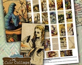 Alice in Wonderland, Collage Sheet, Domino Images, 1x2 Collage Sheet, Domino Collage Sheet, 1x2 Digital Sheet, Calico Collage