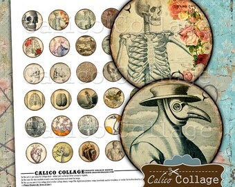 Macabre Collage Sheet, 30mm Collage Sheet, Horror Images, 30mm Circles, Vintage Gothic, Vintage Macabre, Halloween Images, Death Images