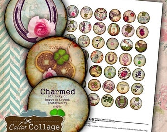 Feeling Lucky, Collage Sheet, Bottlecap Images, Printable Ephemera, 1 Inch Circles, Printable Download, Glass Dome Images