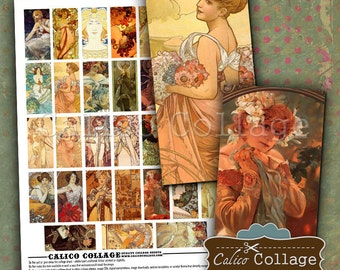Alphonse Mucha, Domino Collage Sheet, 1x2 Images, for Domino Pendants, Art Nouveau, 1x2 Collage Sheet, Digital Artwork, Mucha Images