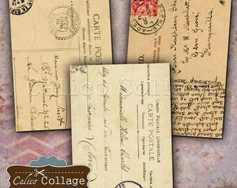 Vintage Postcards 2.5x3.5 ATC Size Digital Ephemera for Printing for Junk Journals, Journalling, Scrapbooking, Greeting Cards, Hang Tags