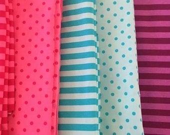 Knit 1/2 yard bundle pink and aqua dots and stripes