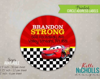 Cars Birthday Return Address Labels, Disney Cars Custom Circle Sticker Envelope Seals