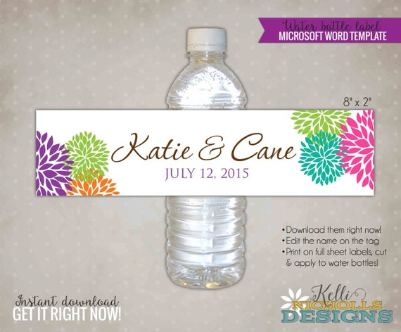 Modern Floral Bloom Wedding Water Bottle Labels DIY Custom
