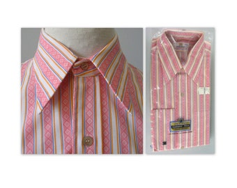 Vintage 70s Mens French Cuff Shirt 16 23 pink stripes by Pariani NOS