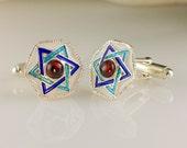 Star of David Cufflinks Judaica Jewelry Sterling Silver Blue Turquoise White Enamel Magen David w Garnet Bar Mitzvah Gift for Him