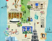 New York City Cultural Map Archival Giclee Print