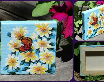 "3""x 3"" Butterfly Daisy Floral Painting Mini Art Daisies with or without easel Creationarts"
