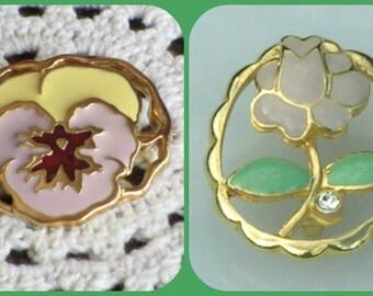 Vintage Rose Pansy Brooches Pin Rhinestone Enamel Pink Green Goldtone Jewelry Creationarts