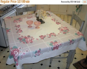 CLEARANCE SALE Vintage Tablecloth Pink & Red Apple Blossom Posies