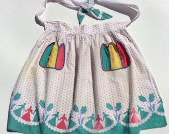 Vintage Apron Paper Dolls in the Tulip Garden w Pockets