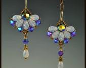 Reserved for Kyle, Crystal Flower Earrings for Wedding