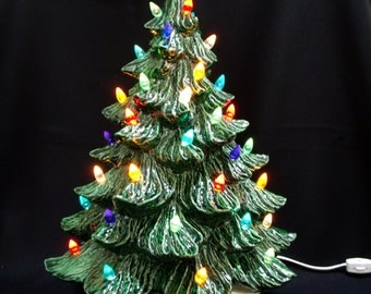 Old Fashioned Ceramic Christmas Tree w/ Music Box 19 in