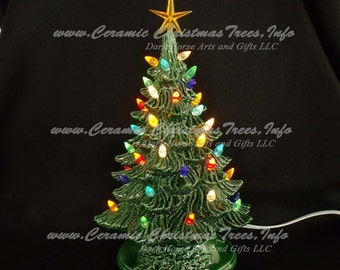 Vintage Style Ceramic Christmas Tree 11 Inches