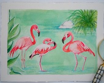 Watercolor Flamingo Original Painting-Flamingo Art-Wall Art-Coastal Decor-Palm Beach Decor-Flamingo Watercolor