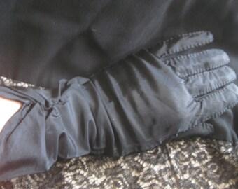 "Black Taffeta and Nylon Gloves Vintage Size 6-1/2"""